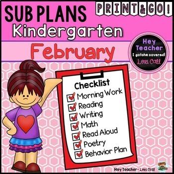 Kindergarten Sub Plans {February-Valentine's Day}