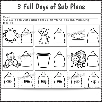 Sub Plans Kindergarten June 3 Full Days