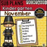 Kindergarten Sub Plans {November-Thanksgiving}