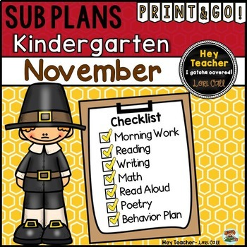 Kindergarten Sub Plans {November-Thanksgiving}