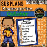 Kindergarten Sub Plans {October - Fall}