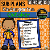 Kindergarten Sub Plans {October - Fall}