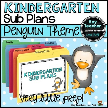 Kindergarten Sub Plans: Penguin Theme