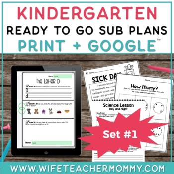 Kindergarten Sub Plans Ready To Go for Substitute. No Prep. One full day.