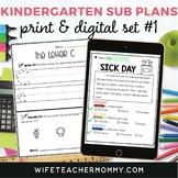 Kindergarten Sub Plans Set #1 Emergency Substitute Lessons Print + Google Bundle