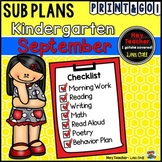 Kindergarten Sub Plans {September-Back to School}