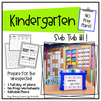 Kindergarten Sub Tub 1 (No Prep. Full Day of Substitute Plans)