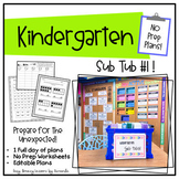 Kindergarten Sub Tub 1 (No Prep. Full Day of Substitute Plans)