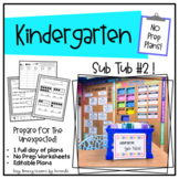 Kindergarten Sub Tub 2 (No Prep. Full Day of Substitute Plans)