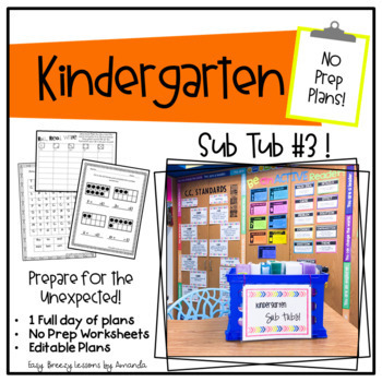 Kindergarten Sub Tub 3 (No Prep. Full Day of Substitute Plans)