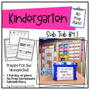 Kindergarten Sub Tub 4 (No Prep. Full Day of Substitute Plans)