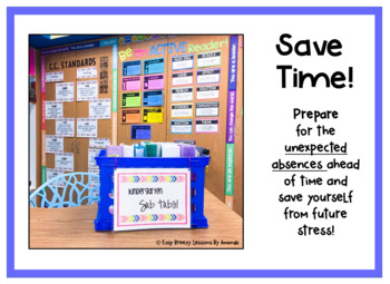 Kindergarten Sub Tub 5 (No Prep. Full Day of Substitute Plans)