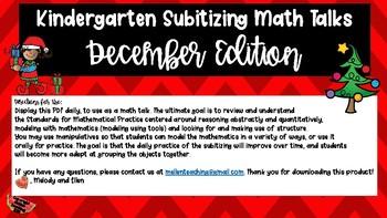 Kindergarten Subitizing Math Talks for December