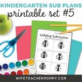 Kindergarten Substitute Lesson Plans Printable Set #5