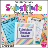 Kindergarten Substitute Teacher Binder with Plans, Forms and Activities