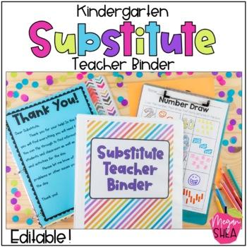 Kindergarten Substitute Teacher Binder with Plans, Forms and Activities