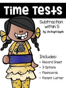 Kindergarten Subtraction Fact Fluency Tests