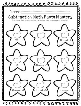 Kindergarten Subtraction Facts Student Record Chart Freebie