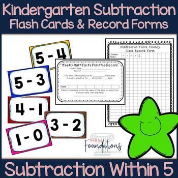 Kindergarten Subtraction Flash Cards (0-5)