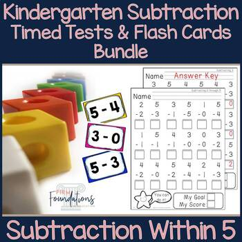 Kindergarten Subtraction Flash Cards and Timed Tests Pack