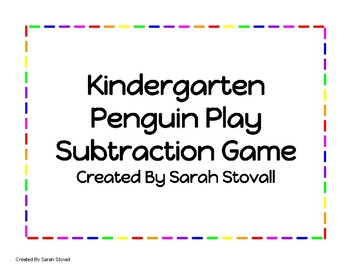 Kindergarten Subtraction Penguin Play Game