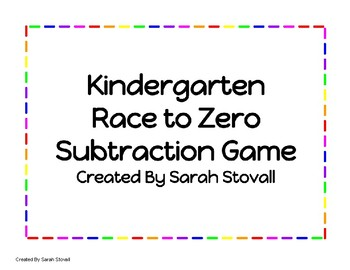 Kindergarten Subtraction Race to Zero Game
