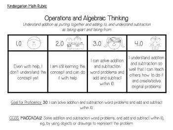 Kindergarten Subtraction Rubrics Sample