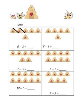 Kindergarten Subtraction Seatwork