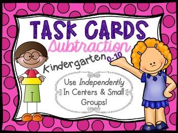 Kindergarten Subtraction Task Cards