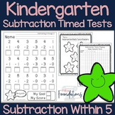 Kindergarten Subtraction Timed Tests- Subtract Within 5- Common Core Aligned