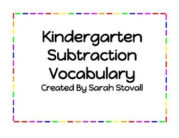 Kindergarten Subtraction Vocabulary