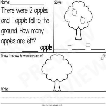 Kindergarten Subtraction Word Problems within 10- Apples