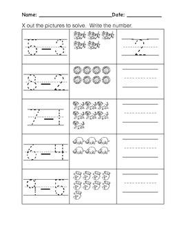 Kindergarten Subtraction Worksheets- Pic Subtraction, Word