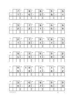Kindergarten Subtraction Worksheets and Quizzes 10-0