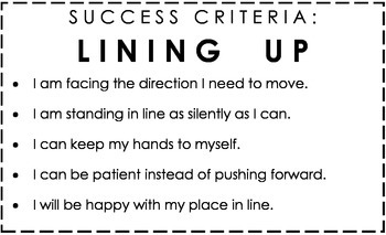 Kindergarten Success Criteria: Lining Up