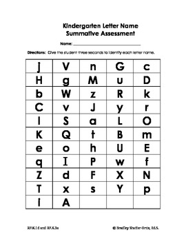 Kindergarten Summative Letter Name & Sound Assessment