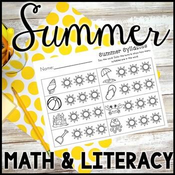 Kindergarten Summer Activities - Math and Literacy -  End of the Year Activities