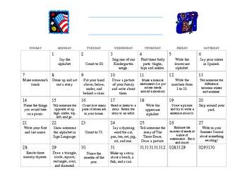 Kindergarten Summer Calendar