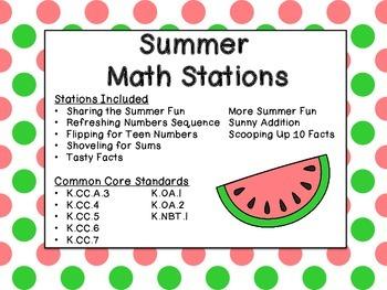 Kindergarten Summer Common Core Aligned Math Stations