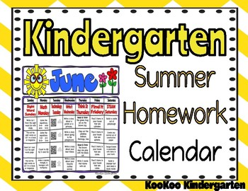 Kindergarten Summer Homework Calendar