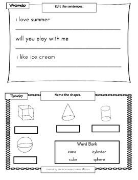 Kindergarten Summer Homework Packet