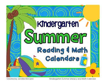 Kindergarten Summer Learning Packet with June and July Calendars