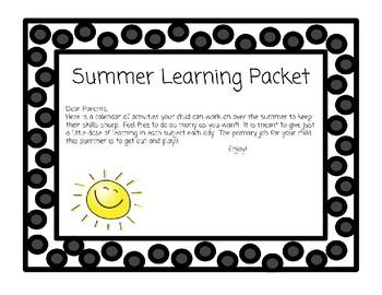 Kindergarten Summer Learning Packets