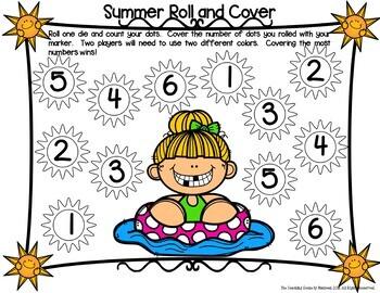 Kindergarten Summer Math Center Games