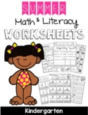 Kindergarten Summer Math and Literacy Worksheets