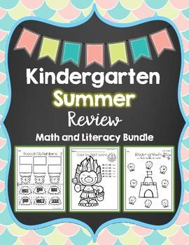 Kindergarten Summer Review Math and Literacy Bundle