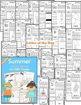 Summer Review: Kindergarten NO PREP (Literacy)