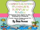 Kindergarten Summer Review Packet (Common Core Aligned)