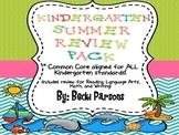 Kindergarten Summer Review Packet (Common Core Aligned)