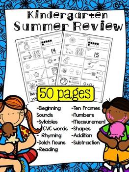 Kindergarten Summer Review Skills Workbook (50 pages)